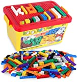 Building Bricks 520 Pieces Set, 500 Basic Building Blocks in 17 Shapes Includes Wheels, Door, Window, Bulk Block with Reusable Storage Box and Building Base Plate, Compatible to All Major Brands
