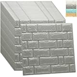 WADILE 3D Wallpaper Brick 20PCS Self Adhesive Peel and Stick Removable Wall Panels Waterproof PE Foam for Bathroom Living Room Home Decoration