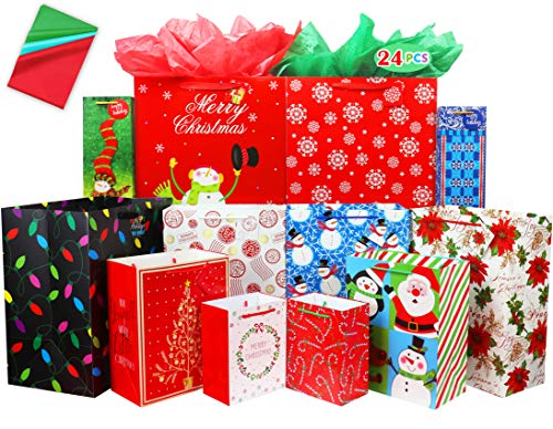 Fzopo Christmas Gift Bags Assorted Sizes 12 Pcs Premium Quality Christmas Gift Bag Set with Tissue Paper Includes 3 Extra Large 3 Large 2 Medium 2 Small 2 Bottle Christmas Bags for Gifts