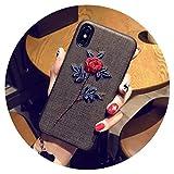 Fashion-Lover Funda de teléfono para iPhone X XR XS MAX con diseño floral para iPhone 6, 6S Plus, 7, 8 Plus, hojas, color rosa y negro, para iPhone 7