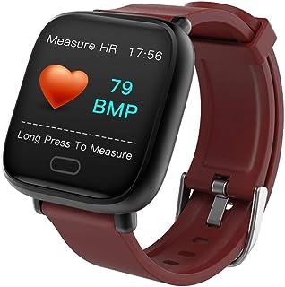 AIFB Pantalla a Color Smartwatch, Pulsómetros Impermeable podómetro Monitor de sueño Monitores de Actividad Notificaciones Inteligentes para Android iOS Phone,Red