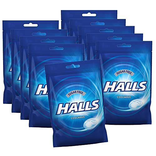 10er SET Halls Bonbons Coolwave zuckerfrei 65 g / Frischebonbon Eukalyptus-Menthol