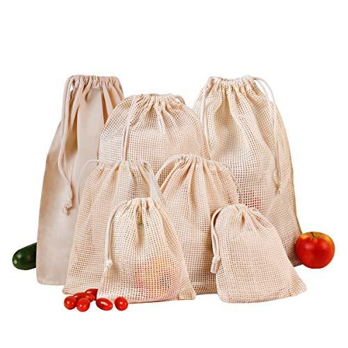 Cottonbagjoe ,,Zero Waste'' | 7er Stoffbeutel-Set | wiederverwendbare Brot-, Obst- und Gemüsebeutel aus Bio-Baumwolle | nachhaltige Netzbeutel mit Kordelzug für den Einkauf und zur Lagerung