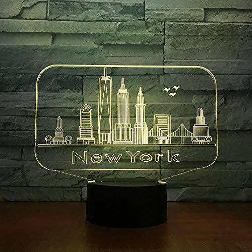 Luz De Noche Led Ilusión 3D Arquitectura De Nueva York Lámpara De Mesa De Cabecera 7 Colores Iluminación Con De Tacto Inteligente Lámpara De Mesa De Cabecera Remota Regalo De Cumpleaños Para Niños