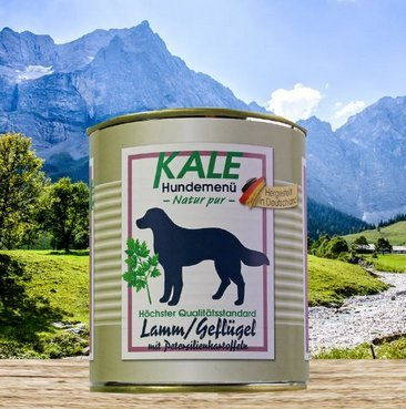 Kale Hundefutter Nassfutter Lamm Geflügel mit Petersilienkartoffeln (6 x 800g)