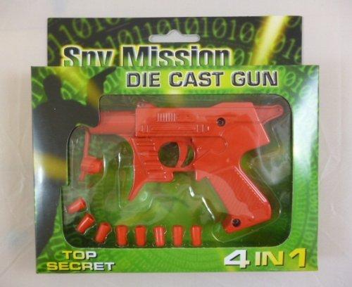 B-Creative Pistola de juguete roja fundida de 12 cm, 4 en 1 para patatas, dardos de goma, pistola de clic y agua (HL140)