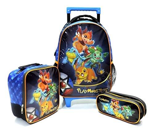 Kit Mochila Infantil Playmonster Pokemon Rodinhas Tam G Azul