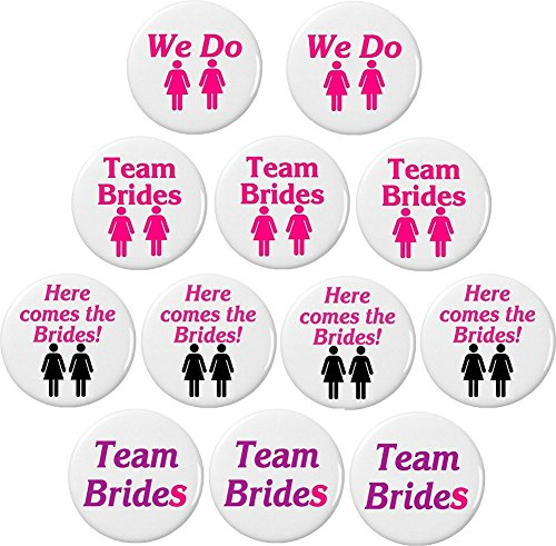 "Set 12 Lesbian Wedding Brides Bachelorette Party Themed 1.25"" Buttons Pins We Do"