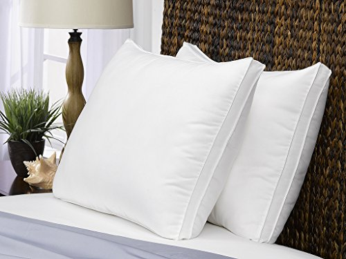 Le' Nautique Soft Queen Bed Pillows- 2 Pack White Hotel Pillows- Gel Fiber Filled Soft Gel Pillows with Hypoallergenic Gusset- Best Pillow for Stomach Sleepers