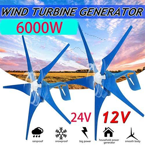 RDJM Windturbine Wind Turbinen-Generator, 6000W12V / 24V Alternative-Energie-Generator Wind-Generator 5 Blades Motor Kit mit Ladereglern (Color : 12V)