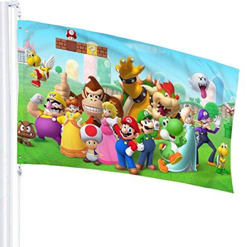 BHGYT Spiel Super Mario Flagge 3x5 FtDecorative Outdoors Anti-Uv Verblassen in Innenräumen Flaggen Saisonale und Holiday Yard Flag Banner Polyester 3x5 Fuß