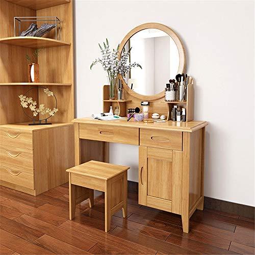 ZDAMN Tocador de madera maciza para dormitorio, mesa de maquillaje simple, mesa de espejo, taburete de madera maciza, tocador de maquillaje para el hogar (color: beige, tamaño: 80 x 40 cm)
