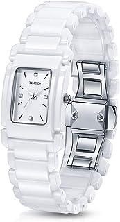Time100 Retro Square Case Ceramic Strap Diamond Women Watch