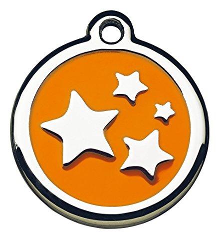 Foto Premio Tiermarke mit Gravur mit Sternen-Motiv | Hundemarke mit Name, inkl. Schlüsselring, aus Aluminium | Adressanhänger für Hund und Katze
