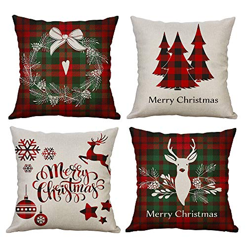 Christmas Throw Pillow Cover, 18 x 18 Inch Winter Holiday Rustic Farmhouse Linen Cushion Case for Sofa Couch Set of 4
