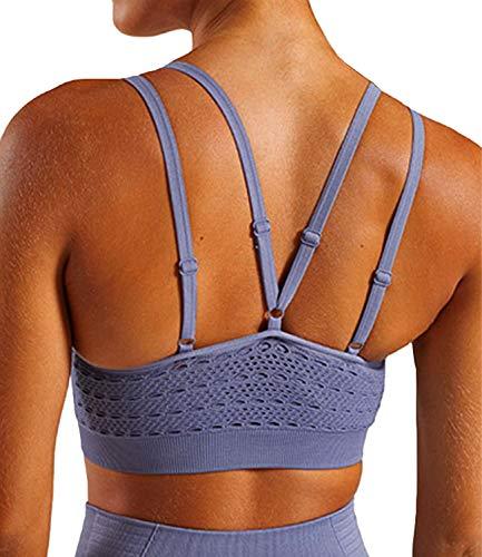 Colo - Camiseta de tirantes de yoga para mujer, espalda abierta, espalda cruzada, sujetador con almohadilla extraíble - Morado - Small