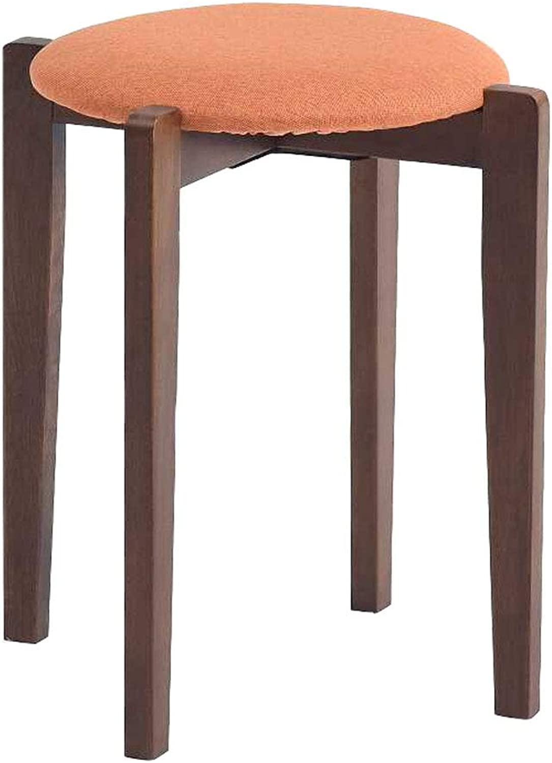 Solid Wood Stool, Modern Simple Makeup Fabric Sofa Stool Round Dresser Dining Table Home Brown Small Bench (color   orange)
