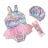 Jimmackey- Bambina Mare Costume Bagnarsi Spiaggia Costumi da Bagno Neonata Costume Intero Un Pezzo Stampa A Scala di Pesce Bikini + Fascia per Capelli Bimba (2-3 Anni, Multicolore)