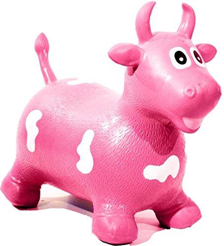 HAPPY GIAMPY HG206 - Mucca Gonfiabile Cavalcabile per Bambini, Colore Rosa