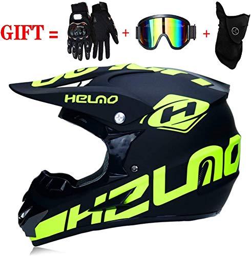 Motocross-Helme/Motorrad-Crosshelm Mit Handschuhen Sturmmaske Und Brille,XL:58-59CM