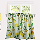 YoKII Lemon Cafe Curtains 24'' W x 36'' L Tailored Farmhouse Floral Bathroom Kitchen Tier Curtains Pair Rod Pocket Room Darkening Short Half Window Treatment Curtains (Tiers - 24 x 36, Yellow)
