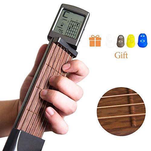 Baiwka Taschengitarre, Gitarren-Akkord-Trainer mit drehbarem Bildschirm, tragbare Digital-Gitarren-Akkord-Übungswerkzeug, 6 Bünde, für Anfänger, mit 4 Fingerhülse, 2