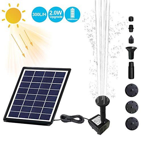 Juego de fuentes solares de jardín de 2 W, fuente para pájaros, fuente en miniatura flotante, con panel solar y bomba de agua para la decoración del jardín circulación de agua