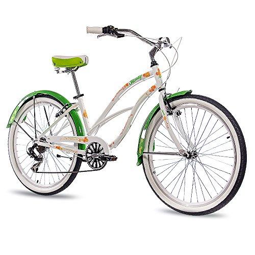 CHRISSON 26 Zoll Beachcruiser Sandy Weiss grün mit 6 Gang Shimano Tourney Kettenschaltung, Damenfahrrad im Retro Look, Vintage Cruiser Bike