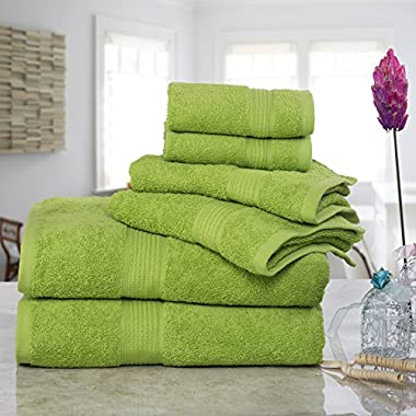 ISABELLA CROMWELL Super Soft Easy Care 6 pc Towel Set; 2 Bath Towels, 2 Hand Towels and 2 Wash Cloths - LIME GREEN