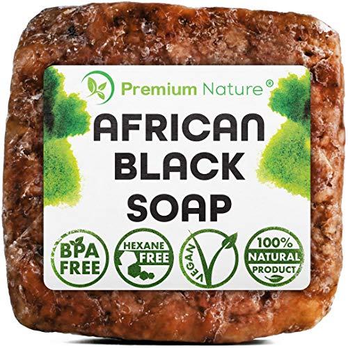 Authentic Raw Black African Soap Bar Acne Face Wash 1 LB - Cruelty Free Organic Original Moisture Natural Butter Pure Body Jabon Shampoo Dark Spots Premium Nature Women Bath Tub Sopa Africano Negro