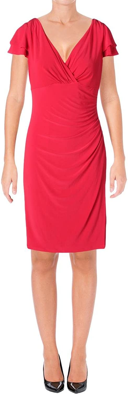 Lauren Ralph Lauren Womens Ruched Faux Wrap Casual Dress