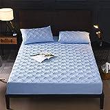 JRDTYS Sábana Ajustable súper Suave, cálida y acogedoraHotel sábana poliéster algodón-Patrón de Agua-Azul_120 * 200