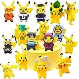 Pikachu Mini Figurine,16 Pcs Mini Action Cake Toppers Figure di Pikachu per Bambini e Baby Shower Forniture per la Decorazione della Torta della Festa di Compleanno