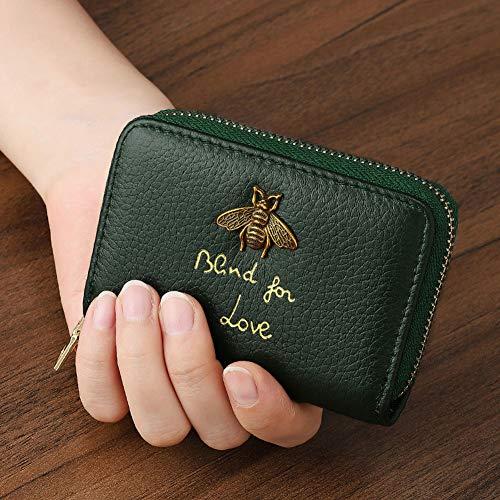 カードケース 大容量 カード入れ 革 レザー 磁気防止 じゃばら ミニ財布 メンズ レディース (濃い緑色)