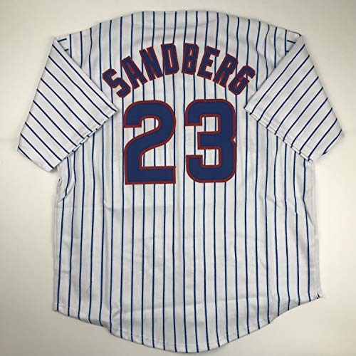 Unsigned Ryne Sandberg Chicago Pinstripe Custom Stitched Baseball Jersey Size Men's XL New No Brands/Logos