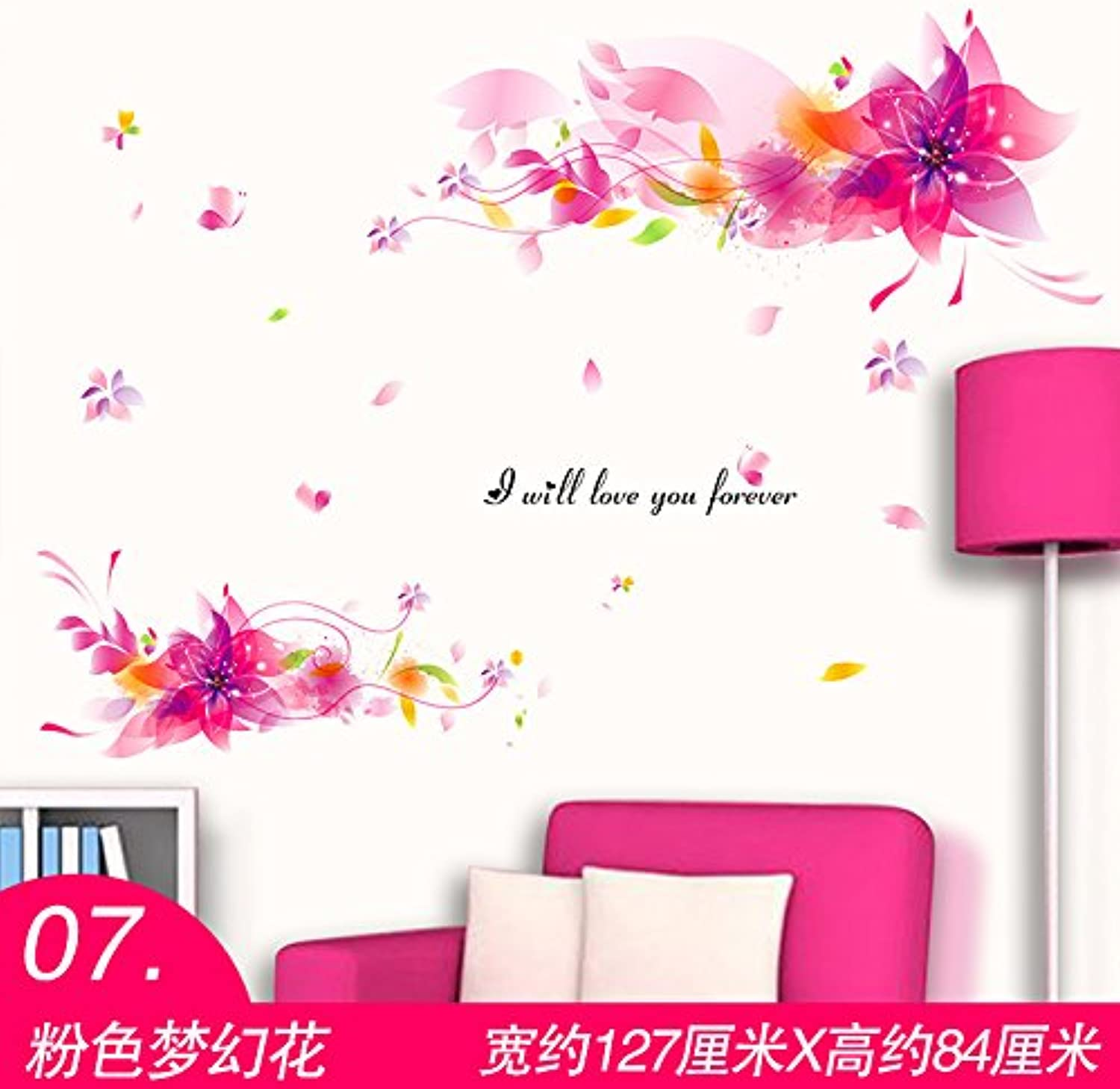 Znzbzt Wallpaper self Adhesive Mural Background Wall Paper Wall Posters, Pink Flower Fantasy
