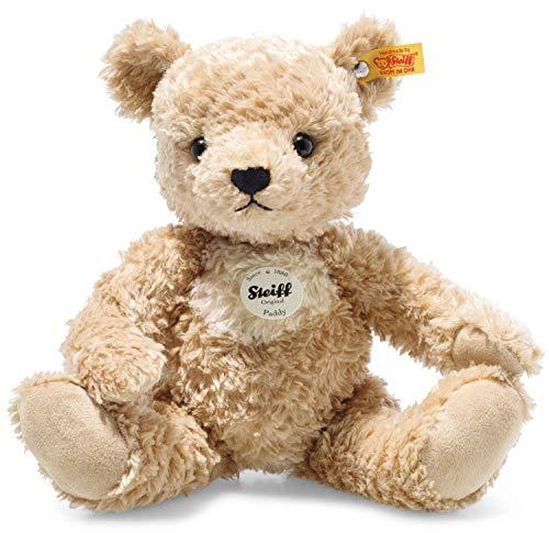Steiff 014253 Original Plüschtier Paddy, Teddybären Kuscheltier ca. 30 cm, Markenplüsch mit Knopf im Ohr, Schmusefreund für Babys von Geburt an, Goldbraun