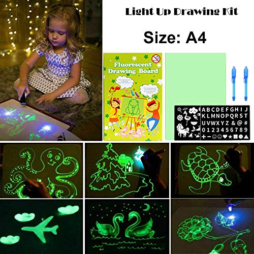 Magic Drawing Board with Fluorescent Pen for Kids, Fun Draw with Light in Dark, Fun Drawing Doodle Board, Developing Children's Imagination