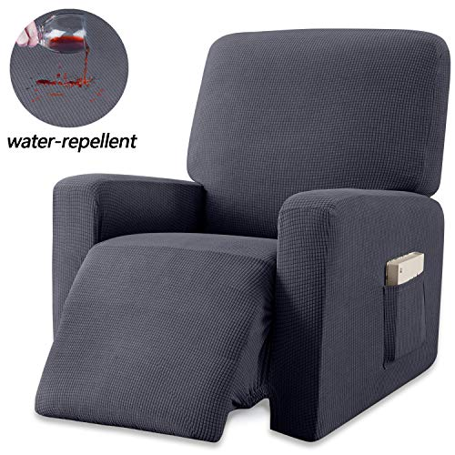 Granbest Premium Water Repellent Recliner Chair Cover High Stretch Jacquard Fabric Recliner Slipcover with Pockets (Recliner, Gray)