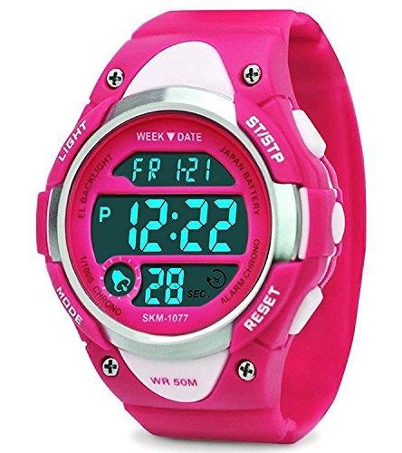 Digital Uhren für Mädchen Geschenke - Kinder Outdoor Sportuhren mit LED, 5 ATM Wasserdicht Sport Elektronische Handgelenk Digitaluhren mit Wecker Woche für Teenagers Rose