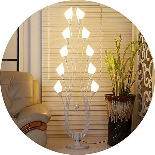Desk lamp Lampadaire de Style européen pour Bouton de commutateur d'alimentation d'appareil d'éclairage Paon de Salon Chambre à Coucher, Source de lumière E14 X10 LI Jing Shop (Couleur : Blanc)