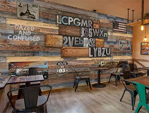 3D Vintage Holz Gestreiften Rahmen Malerei Kreative Getriebe Brick Wallpaper Thema West Restaurant Cafe Hintergrund Wandbild, 150 * 105 Cm