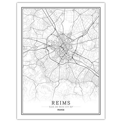 ZWXDMY Leinwand Bild,Frankreich Reims Stadtplan Schwarz Weiß Minimalismus Textzeile Abstrakten Drucken Leinwand Poster Malerei Wandbild Office Image Home Dekoration, 60 × 80 cm