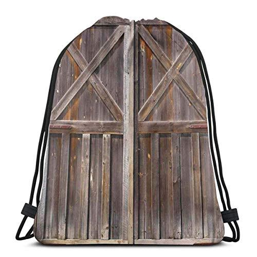 XCNGG Bolsas con cordón Bolsa de deporte deportiva Bolsa de viaje, Antigua puerta de granero de madera de granja Roble Campo Pueblo Tablero Vida rural Impresión fotográfica