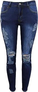 GUOCU Mujer Skinny Desgastados Rotos Denim Vaqueros Elásticos Cintura Baja Sexy Angustiado Nueve Pantalones