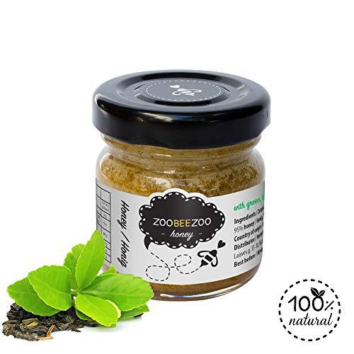 Pure honing met groene thee - biologische honing van hoge kwaliteit - zo gezond als Manuka-honing uit Nieuw-Zeeland - echte bloesemhoning (50g)