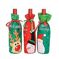 gudotra 3pz copertura bottiglia di vino natale porta bottiglie regalo natale decorazioni tavola natalizie (stile-1)