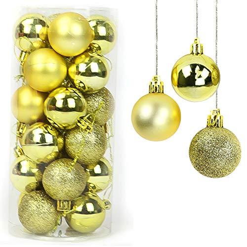 Yisscen Palle di Natale Decorazioni per Alberi, Palle per Alberi di Natale, Palle Decorative Natalizie, Palline Decorative Luccicanti opache e Lucide, per Decorazioni Feste, 24 Pezzi (d'oro)