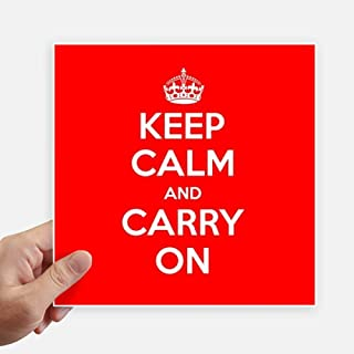 DIYthinker Quote Keep Calm and Carry On Red Square Stickers 20cm Wall Suitcase Laptop Motobike Decal 4pcs 8 inch x 8 inch(20cm x 20cm)