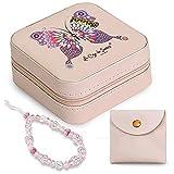La Caja de Sueños Joyero de Viaje Pequeño Rosa - Mini joyero Mujer Chicas Niñas - Separador de Joyas - Organizador Anillos y Pendientes - Regalo Bolsa Neceser y Correa de Cristal para Colgar